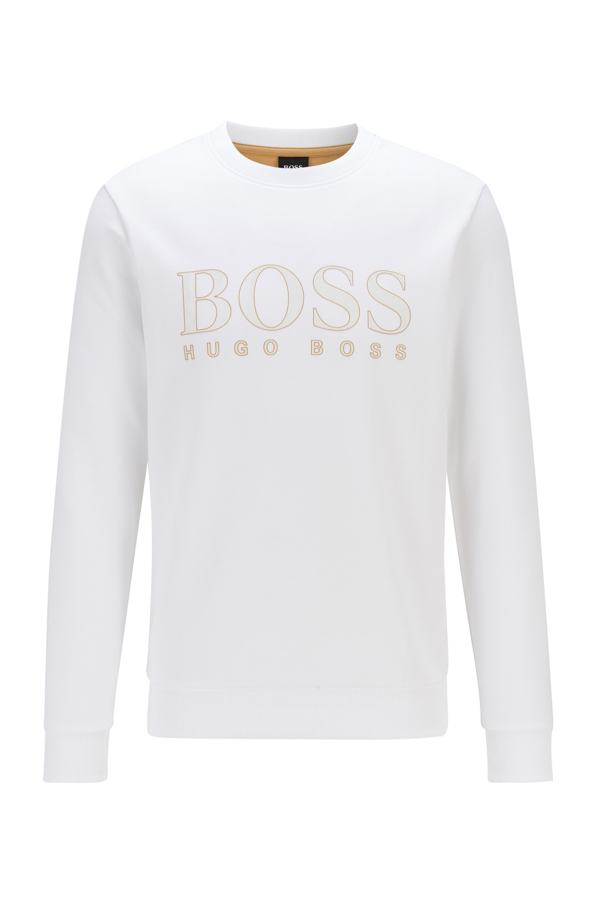 Slim-fit sweater van een dubbelgebreide katoenmix met logoprint , Wit