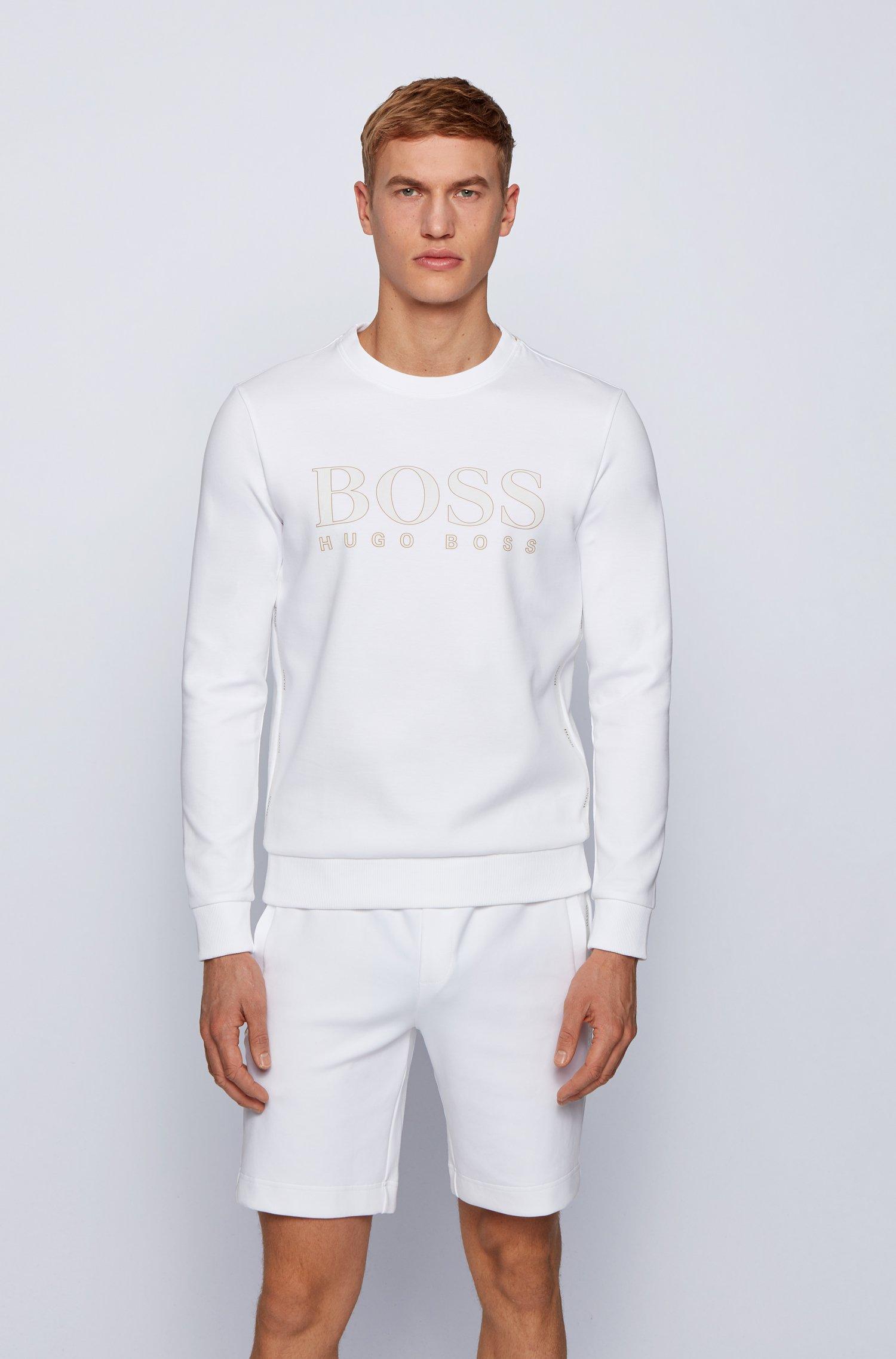 Logo-print slim-fit sweatshirt in cotton-blend interlock , White