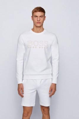 Logo-print slim-fit sweatshirt in cotton-blend interlock , White
