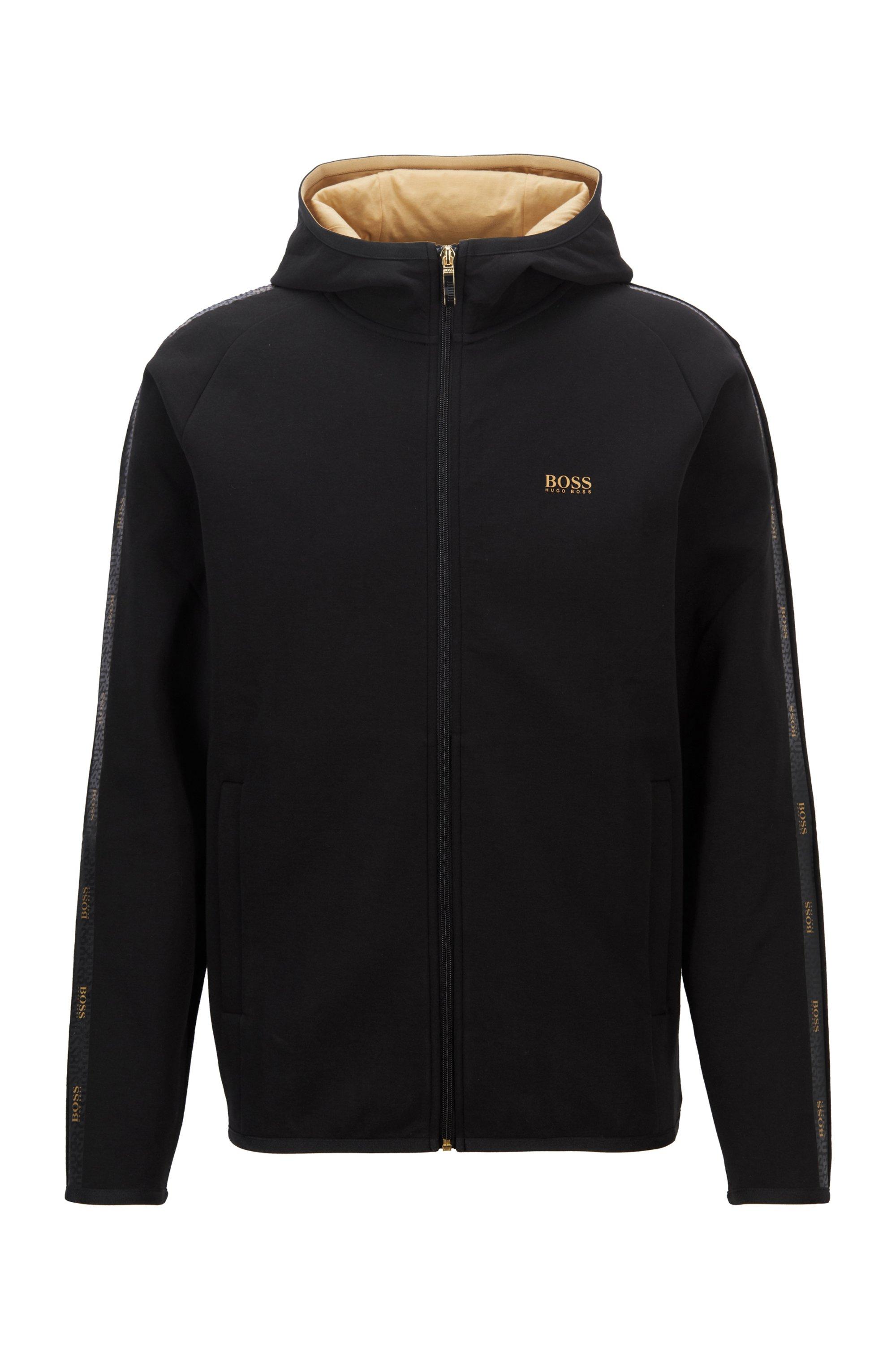 Sweater met capuchon en logoband van interlocked materiaal, Zwart