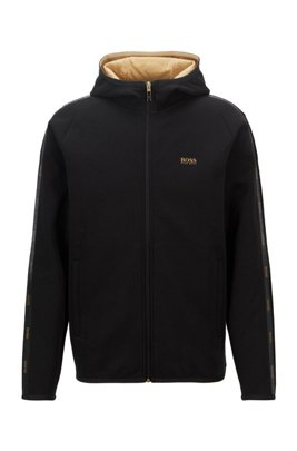 Interlock-fabric hooded sweatshirt with logo-tape trim, Black
