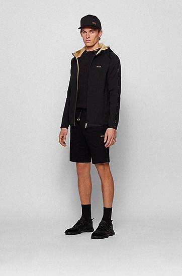 饰有徽标饰带的棉毛面料连帽运动衫,  001_黑色