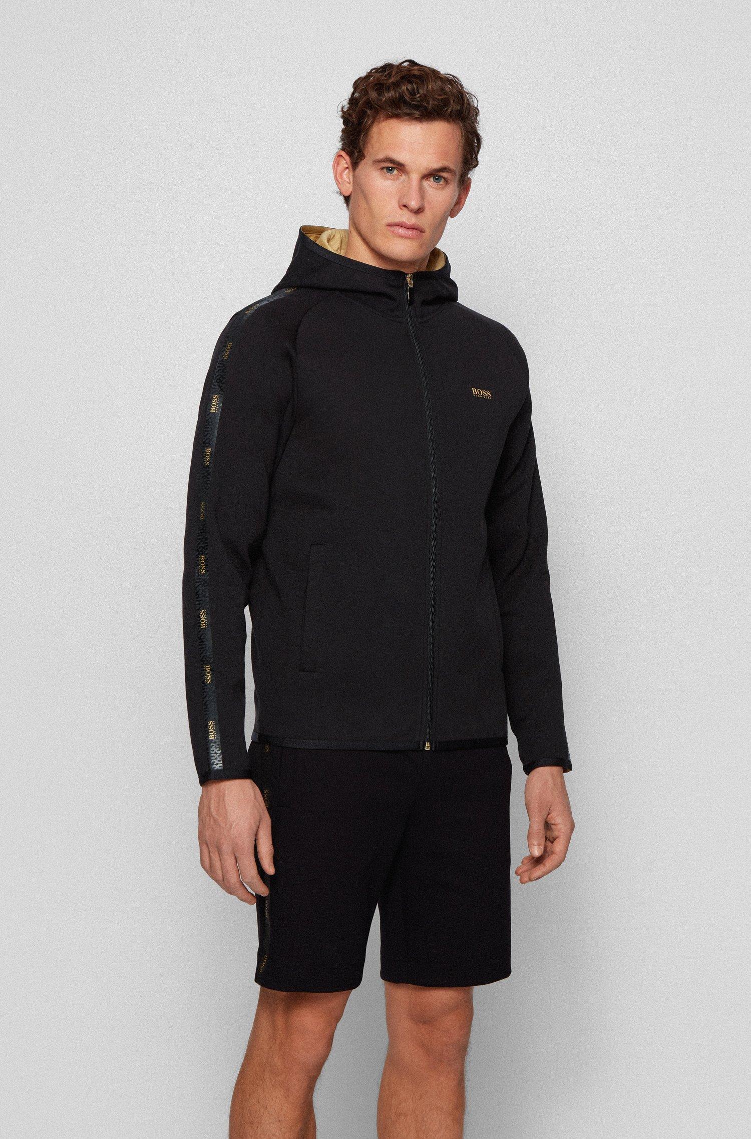 Interlock-fabric hooded sweatshirt with logo-tape trim, Black