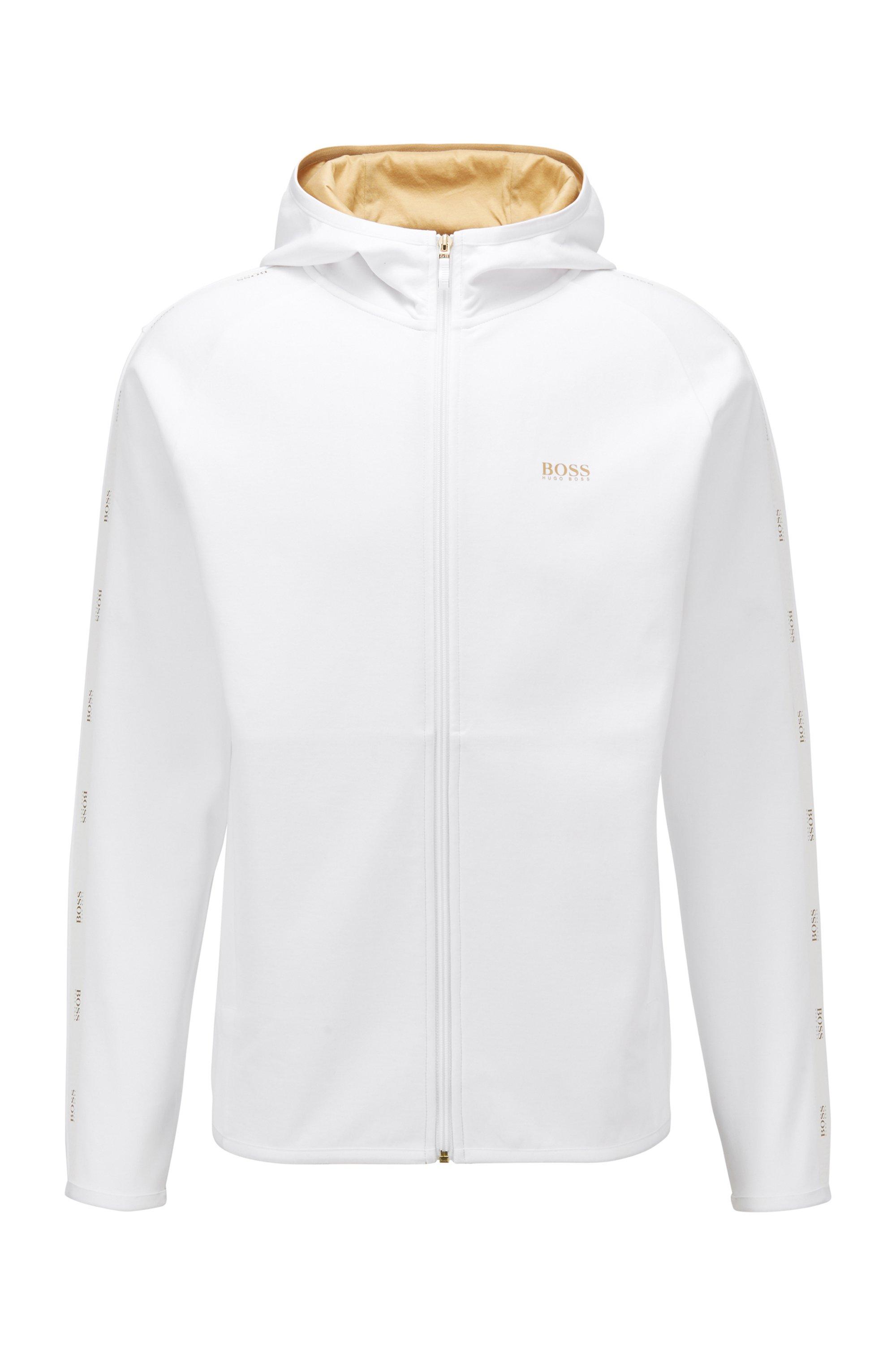 Sweater met capuchon en logoband van interlocked materiaal, Wit