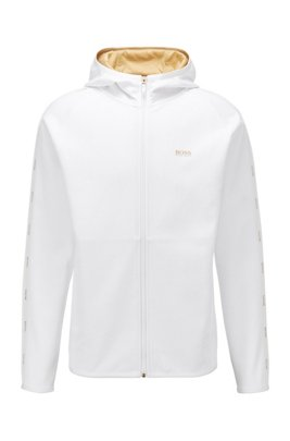 Interlock-fabric hooded sweatshirt with logo-tape trim, White