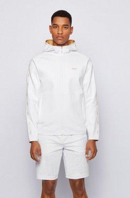 Interlock-fabric hooded sweatshirt with logo-tape trim, White