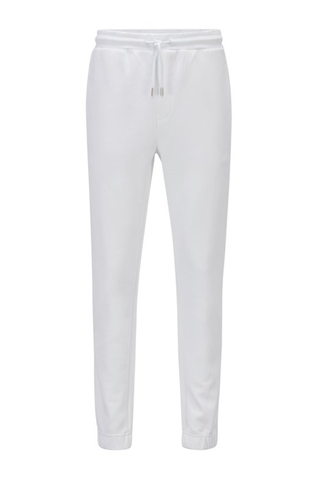 Cotton-blend tracksuit bottoms with gold logo detailing, White