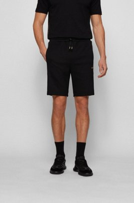 Cotton-blend shorts with gold logo detailing, Black