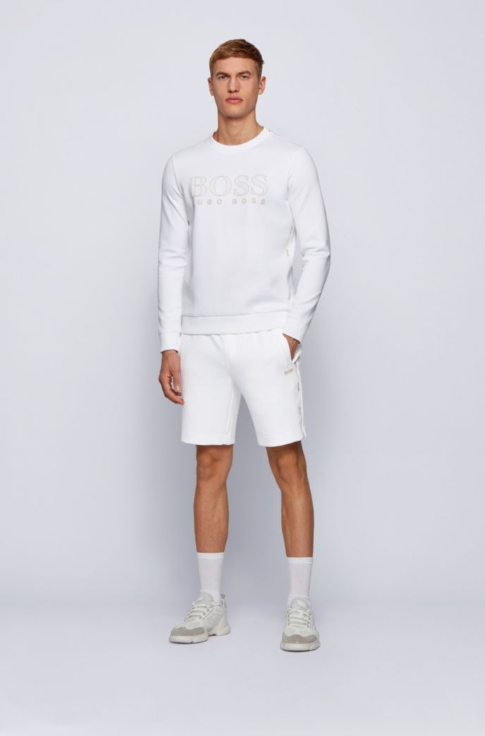 Cotton-blend shorts with gold logo detailing
