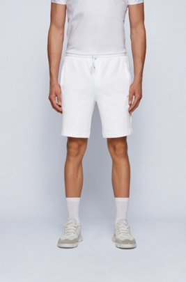Cotton-blend shorts with gold logo detailing, White