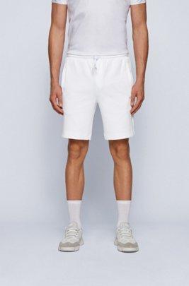 Short en coton mélangé avec logo doré, Blanc