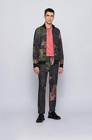 植物印花常规版型拉链运动衫,  001_Black