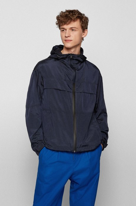 Hooded water-repellent jacket with logo details, Dark Blue