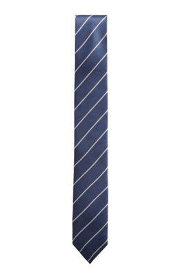 Italian-made tie in cupro with diagonal stripes, Dark Blue