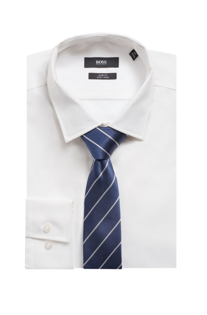 Italian-made tie in cupro with diagonal stripes