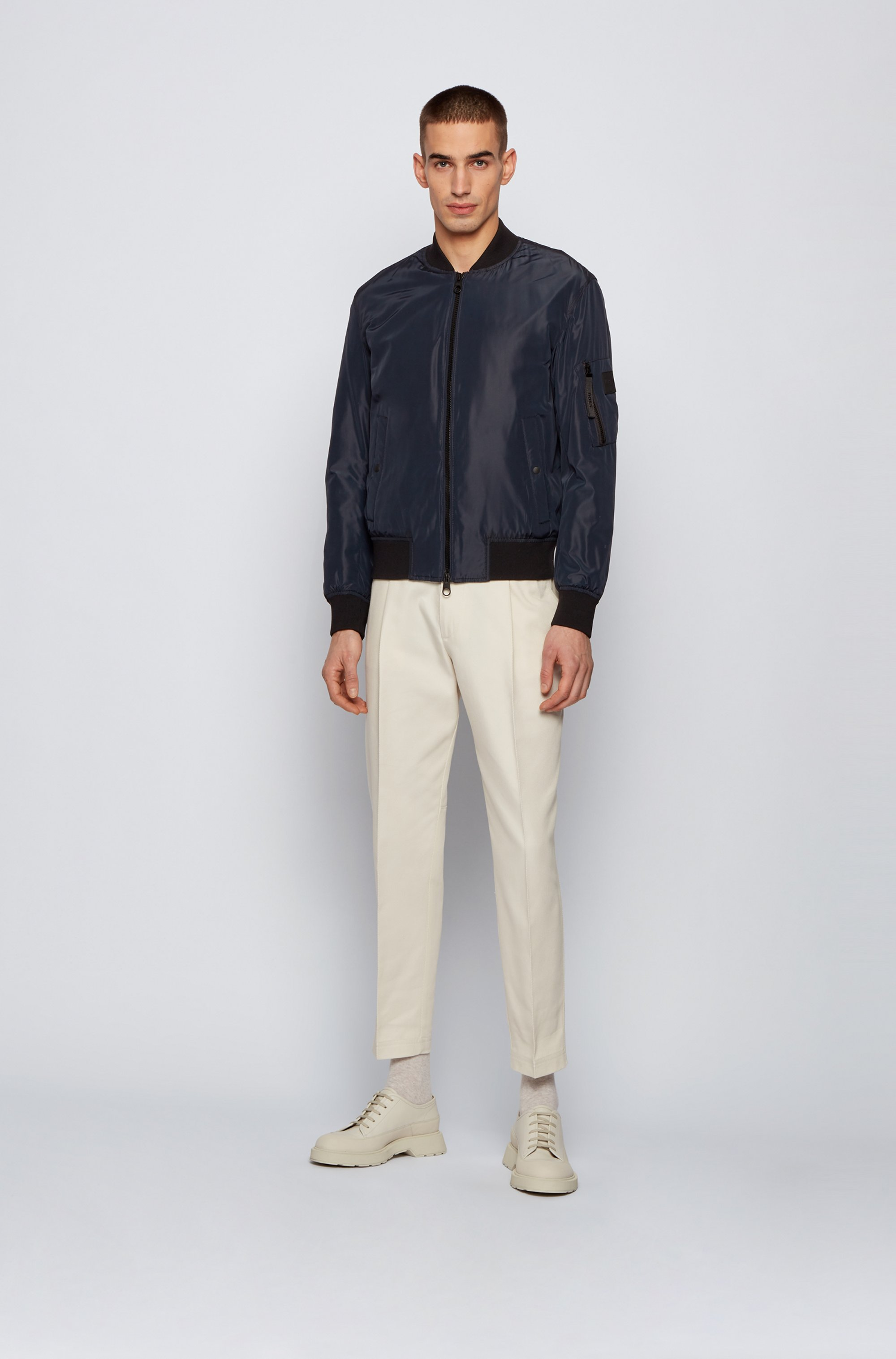 Water-repellent bomber jacket with light padding