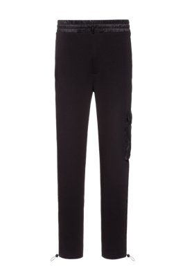 Cotton-blend tracksuit bottoms with mesh inserts, Black