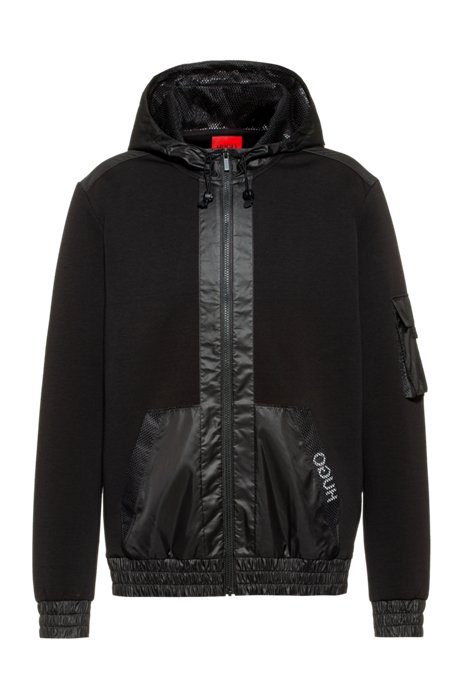 Relaxed-fit zip-through hoodie with mesh trims, Black