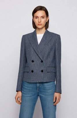 Double-breasted cropped jacket in checked organic linen, Patterned
