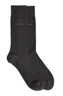 Two-pack of regular-length socks in a cotton blend, Dark Grey