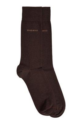 Two-pack of regular-length socks in a cotton blend, Dark Brown
