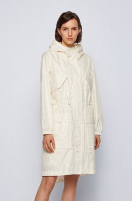 Hooded outerwear jacket with tonal camouflage print, White