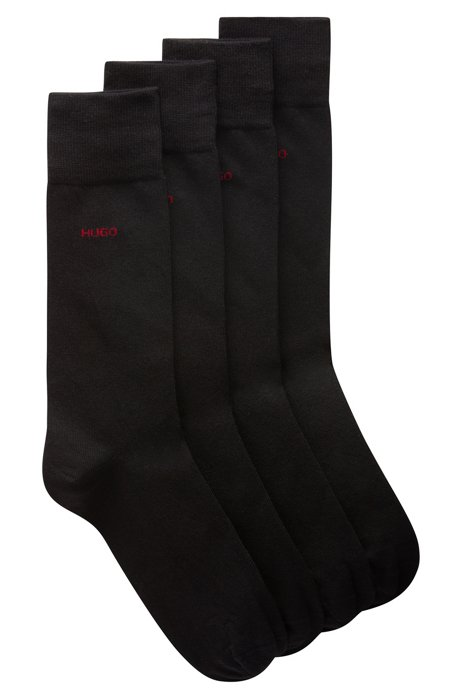 Two-pack of logo socks in a combed-cotton blend, Black
