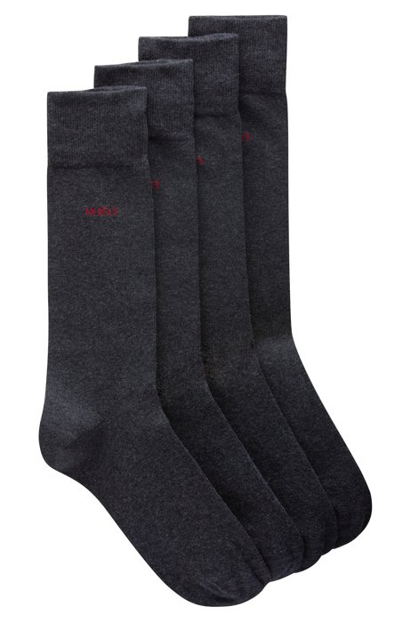 Two-pack of logo socks in a combed-cotton blend, Dark Grey