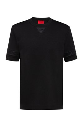 Relaxed-fit T-shirt with mesh inserts and logo details, Black