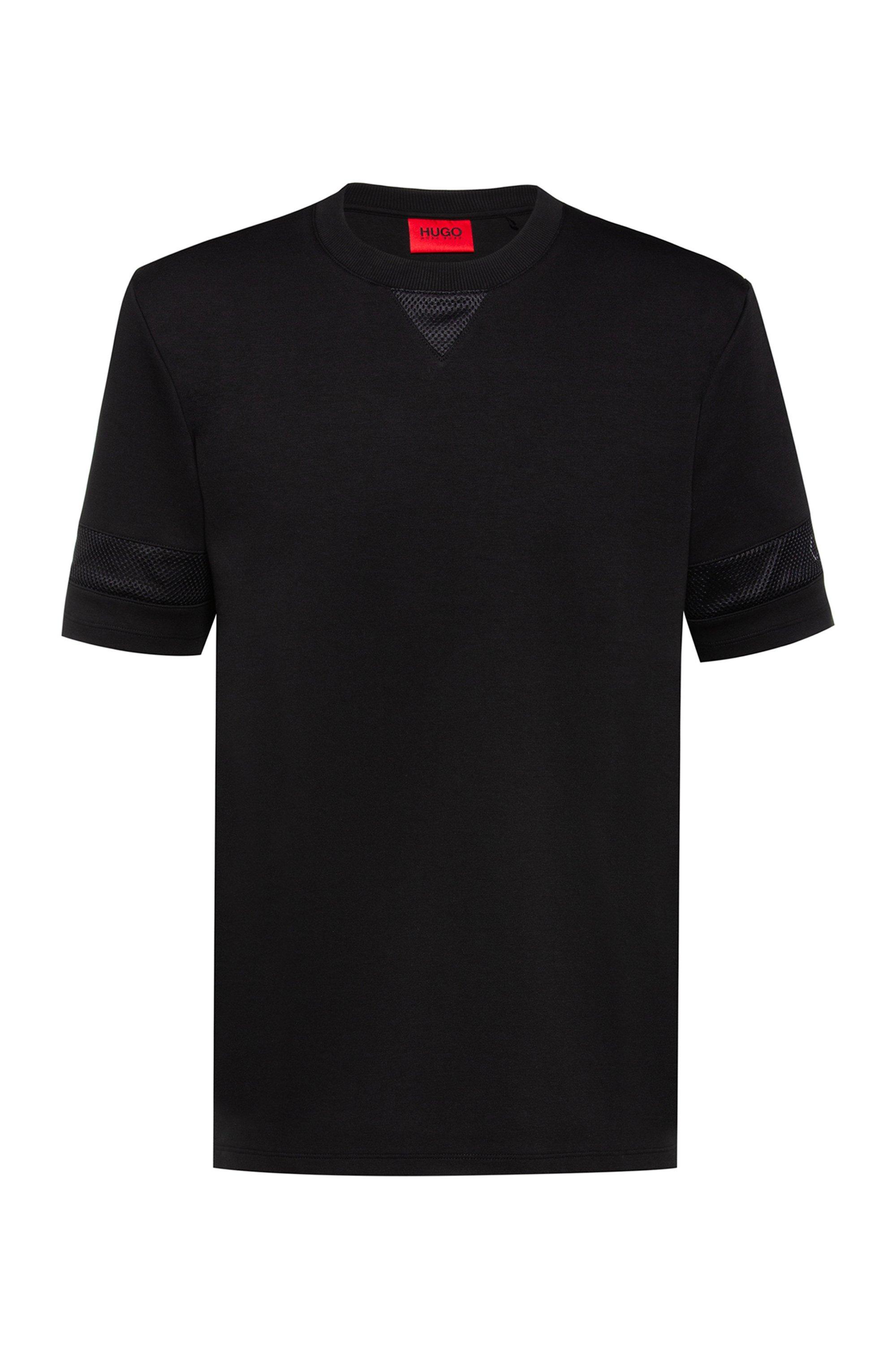 T-shirt Relaxed Fit avec empiècements en mesh et logos, Noir