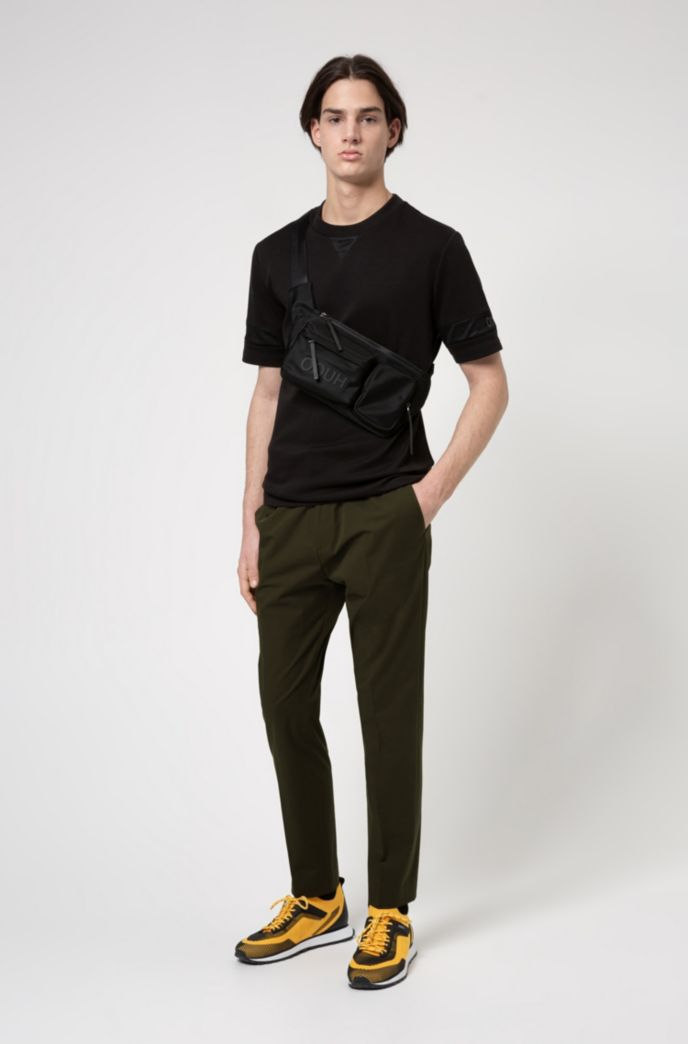 Relaxed-fit T-shirt with mesh inserts and logo details