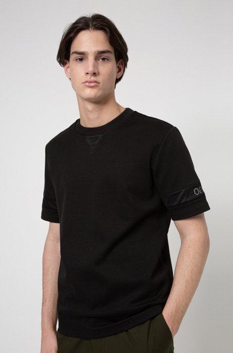 Relaxed-Fit T-Shirt mit Mesh-Einsätzen und Logo-Details, Schwarz