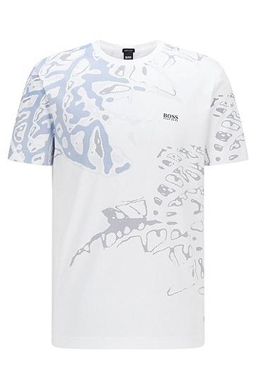 新季植物图案棉毛 T 恤,  100_White
