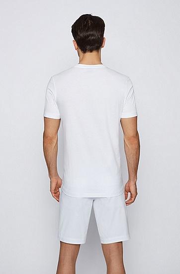 植物艺术图案印花棉质平纹针织常规版型 T 恤,  白色