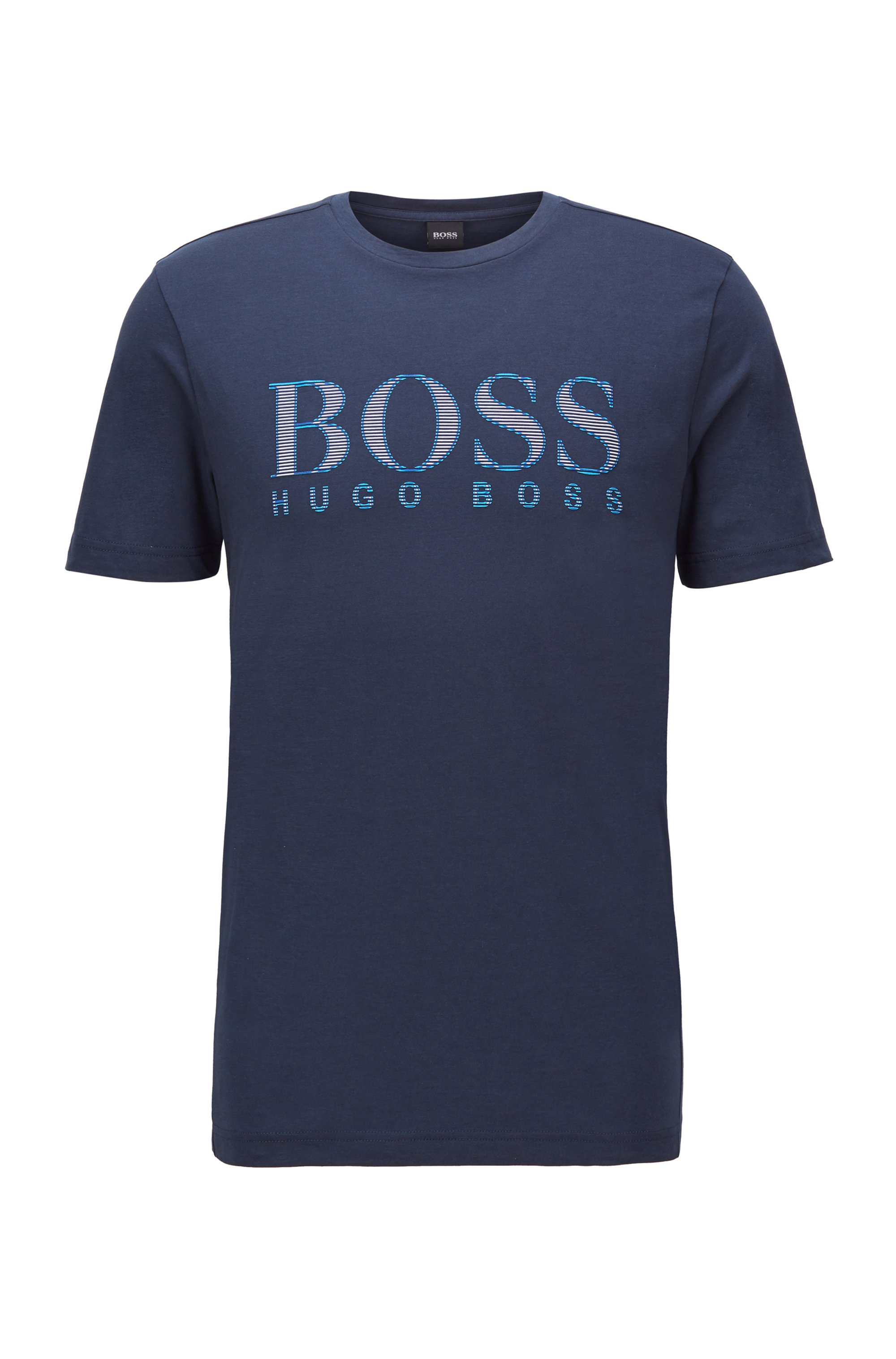 Regular-fit cotton-jersey T-shirt with multicolored logo, Dark Blue