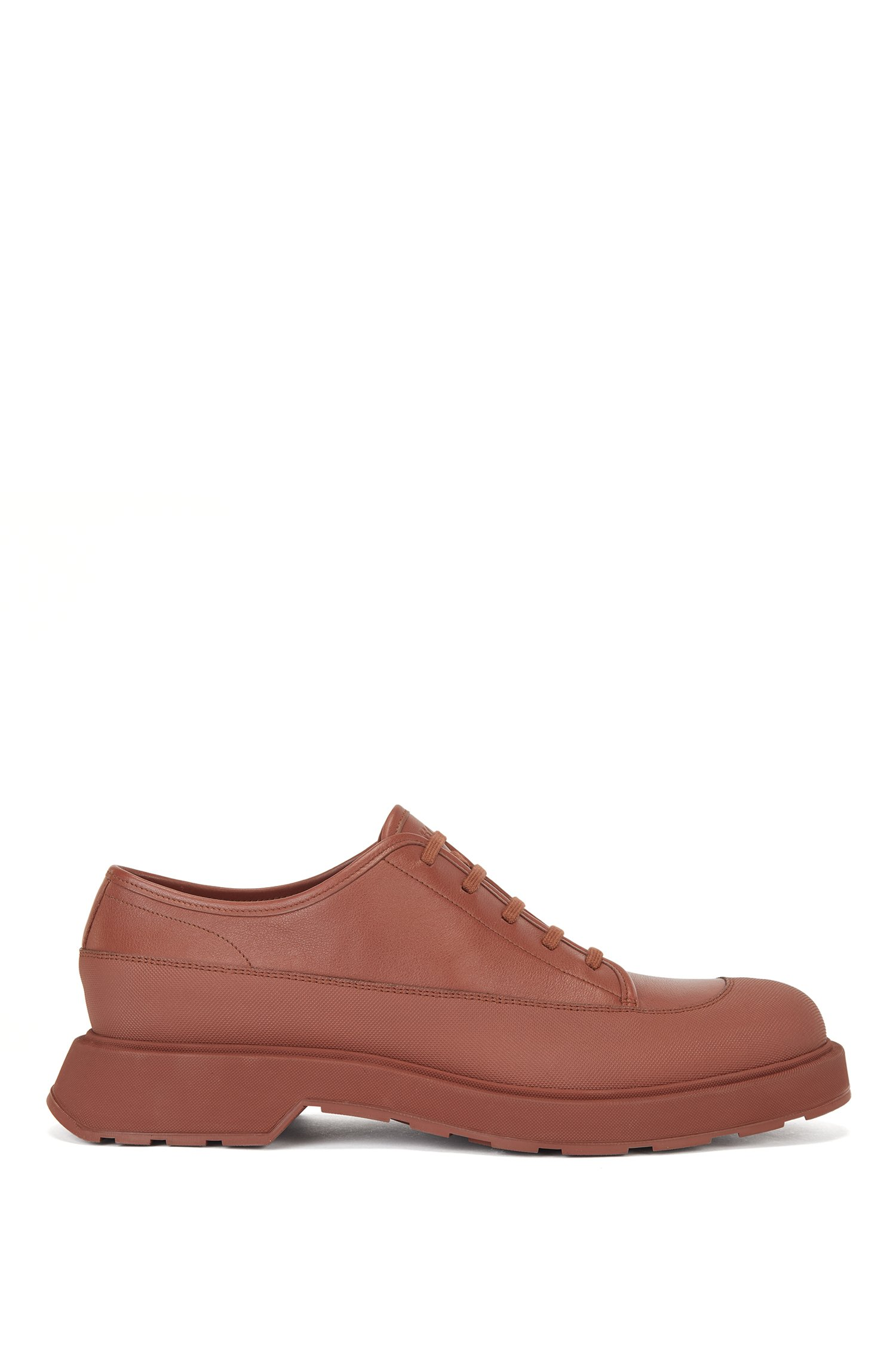 Hybrid Derby shoes in calf leather with lug sole, Brown