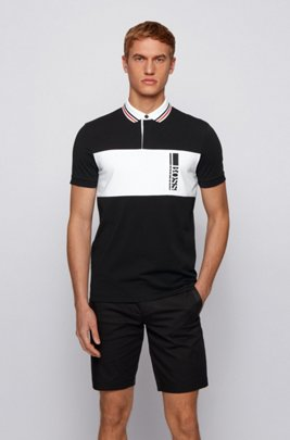 Colour-block polo shirt in a cotton blend, Black