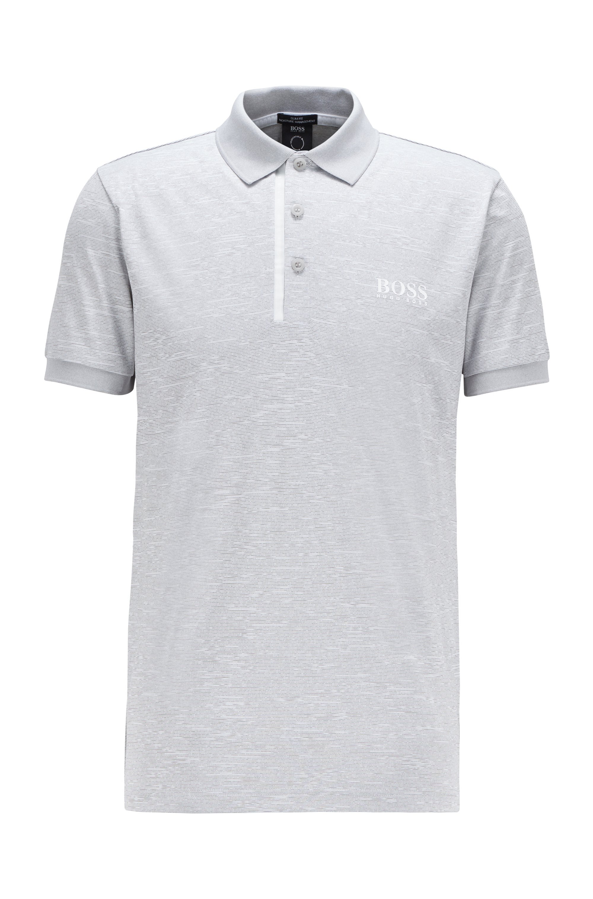 Slim-fit polo shirt in melange S.Café® fabric, Light Grey