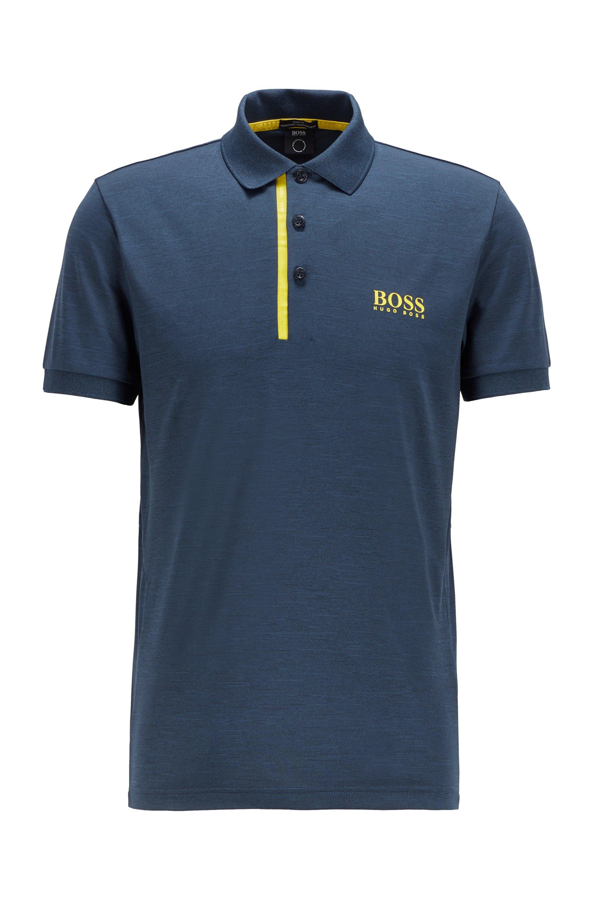 Slim-fit polo shirt in melange S.Café® fabric, Dark Blue