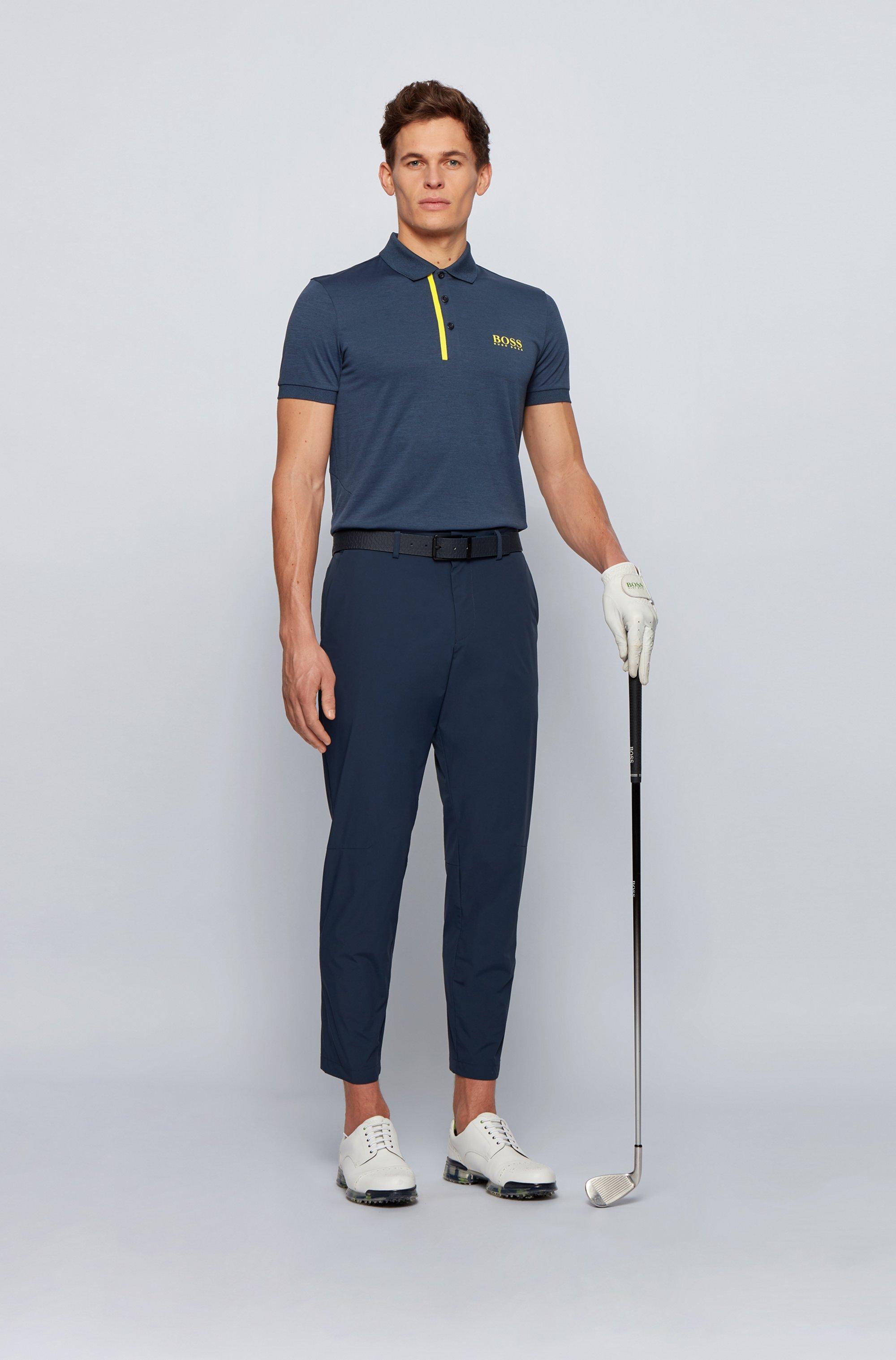 Slim-fit polo shirt in melange S.Café® fabric