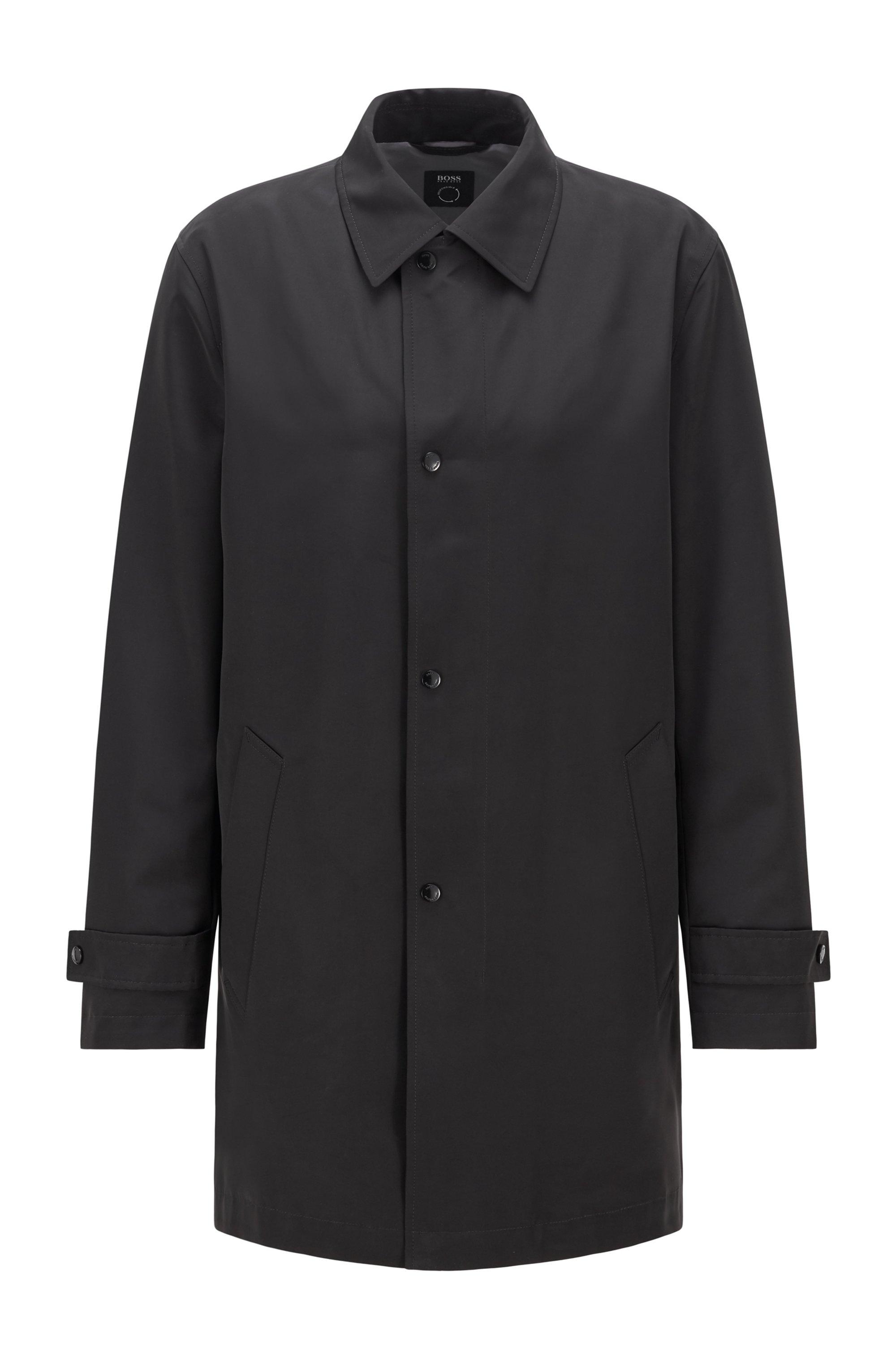 Wasserabweisender Mantel aus recyceltem Gewebe , Schwarz