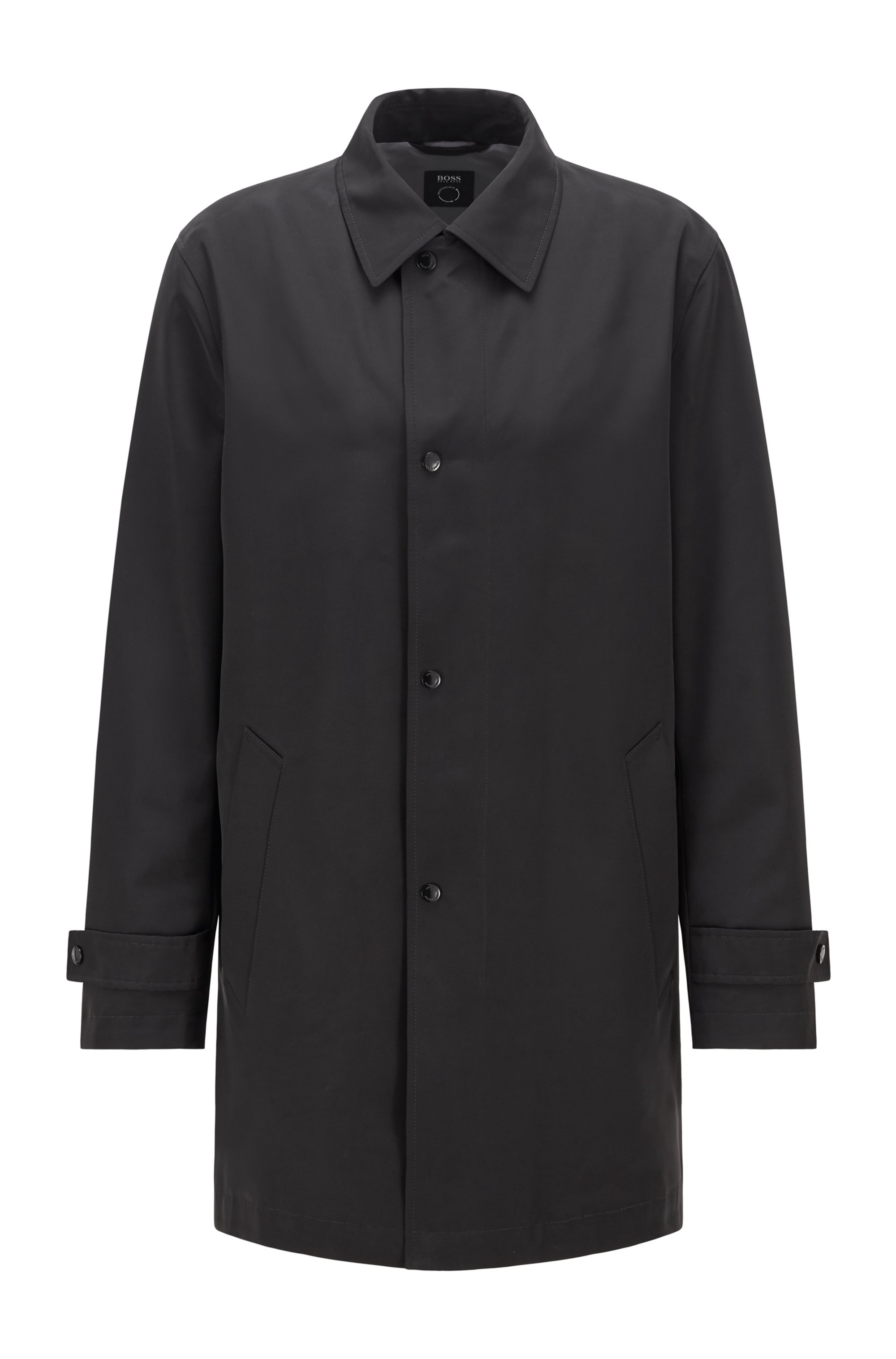 Water-repellent overcoat in recycled fabric , Black