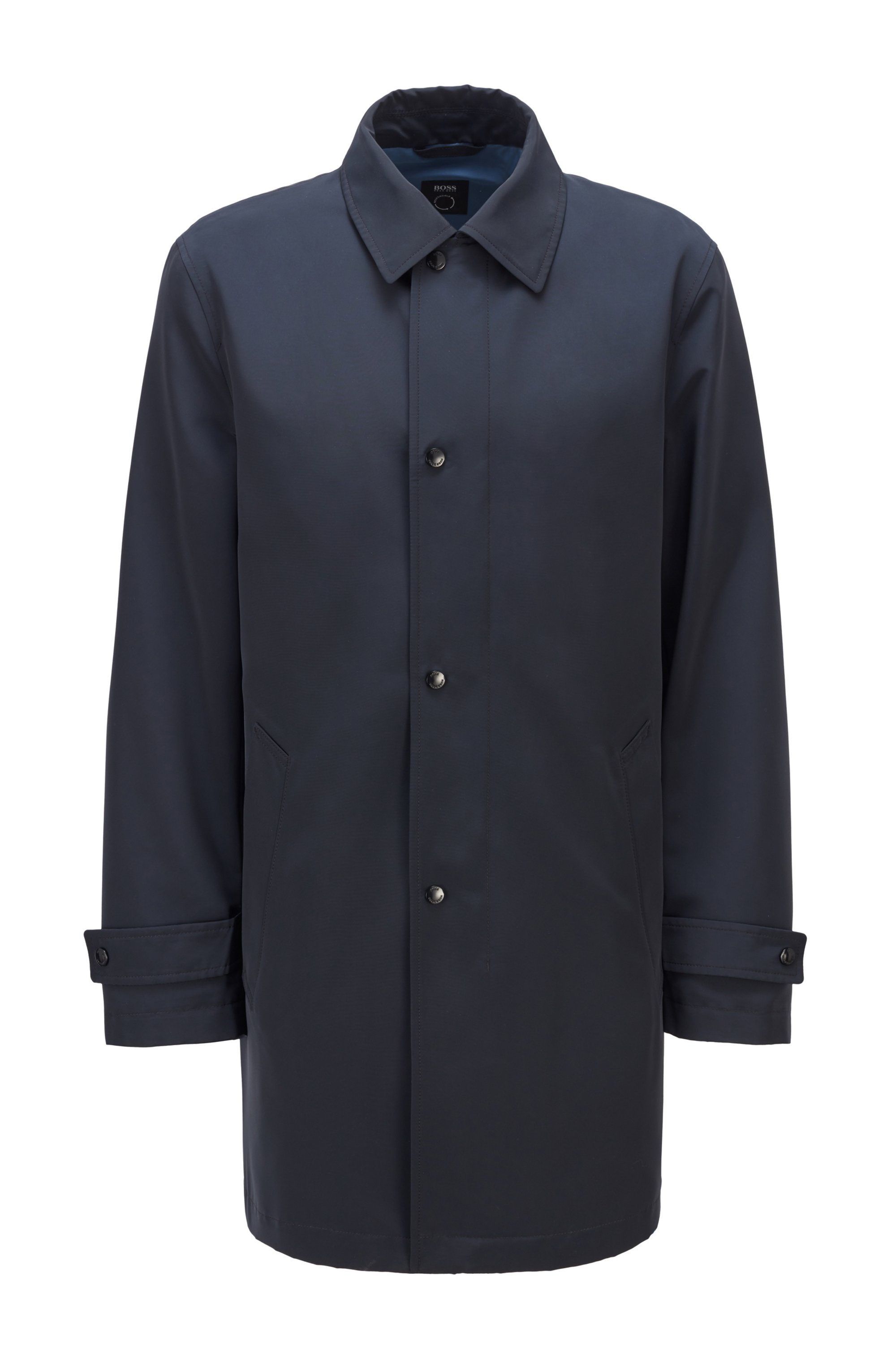 Water-repellent overcoat in recycled fabric , Dark Blue
