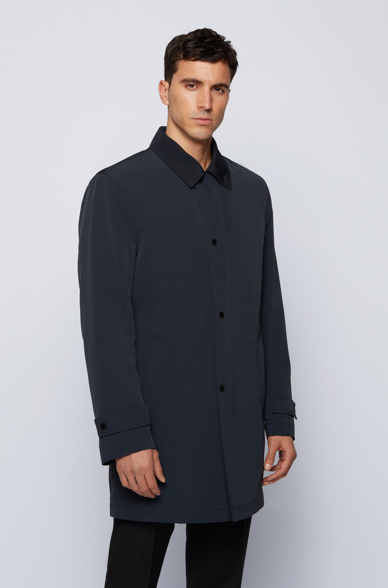 Water-repellent overcoat in recycled fabric , Dark Blue