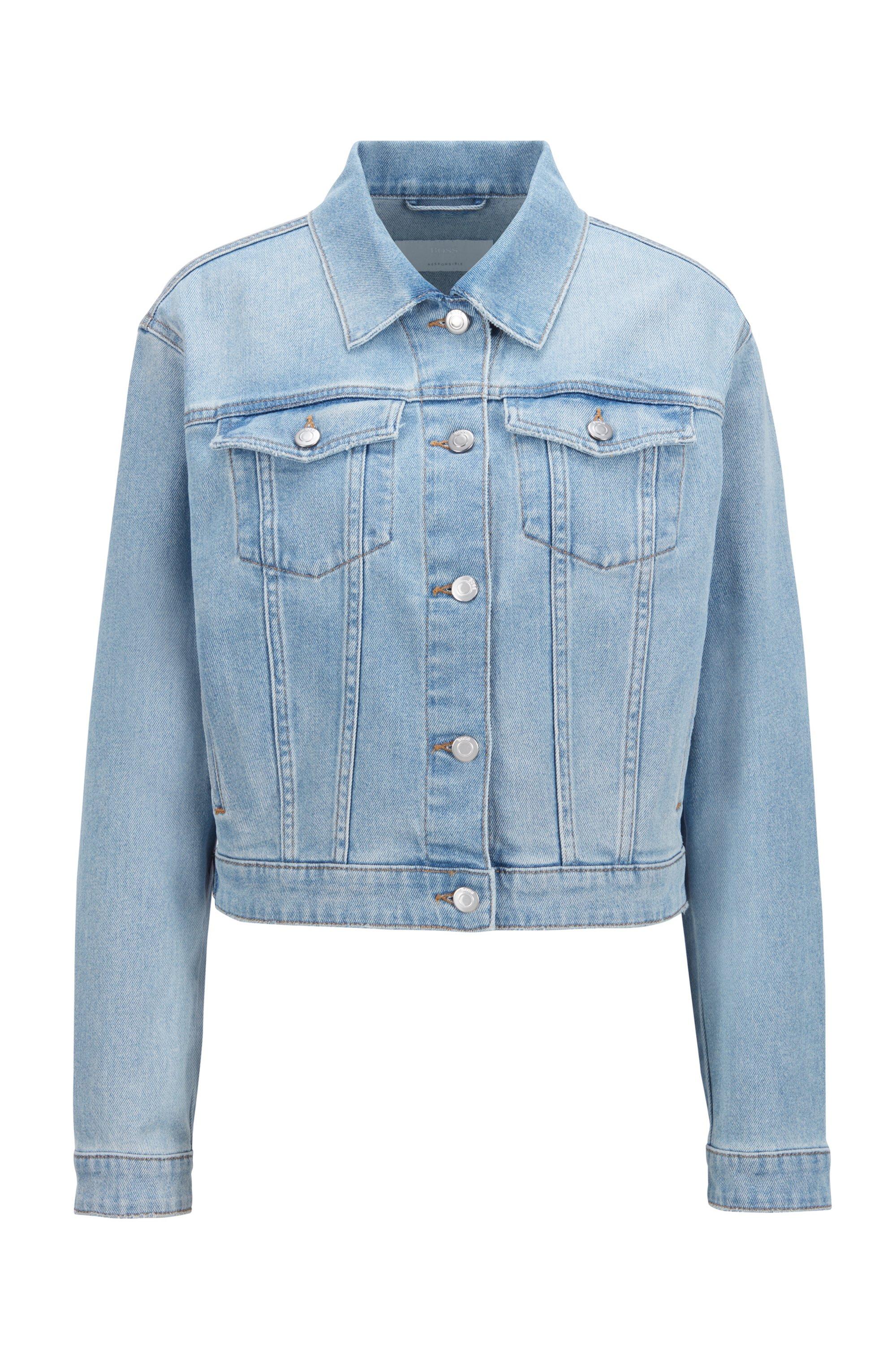 Relaxed-Fit Jeansjacke mit gebleichter blauer Waschung, Hellblau
