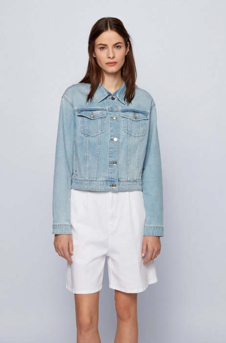 Relaxed-fit denim jacket with bleached blue wash, Light Blue