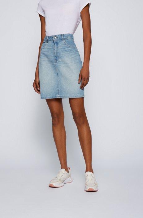 High-waisted mini skirt in light-blue stretch denim, Turquoise