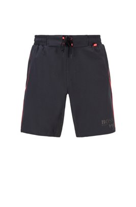Contrast-piped swim shorts with reflective inserts, Black