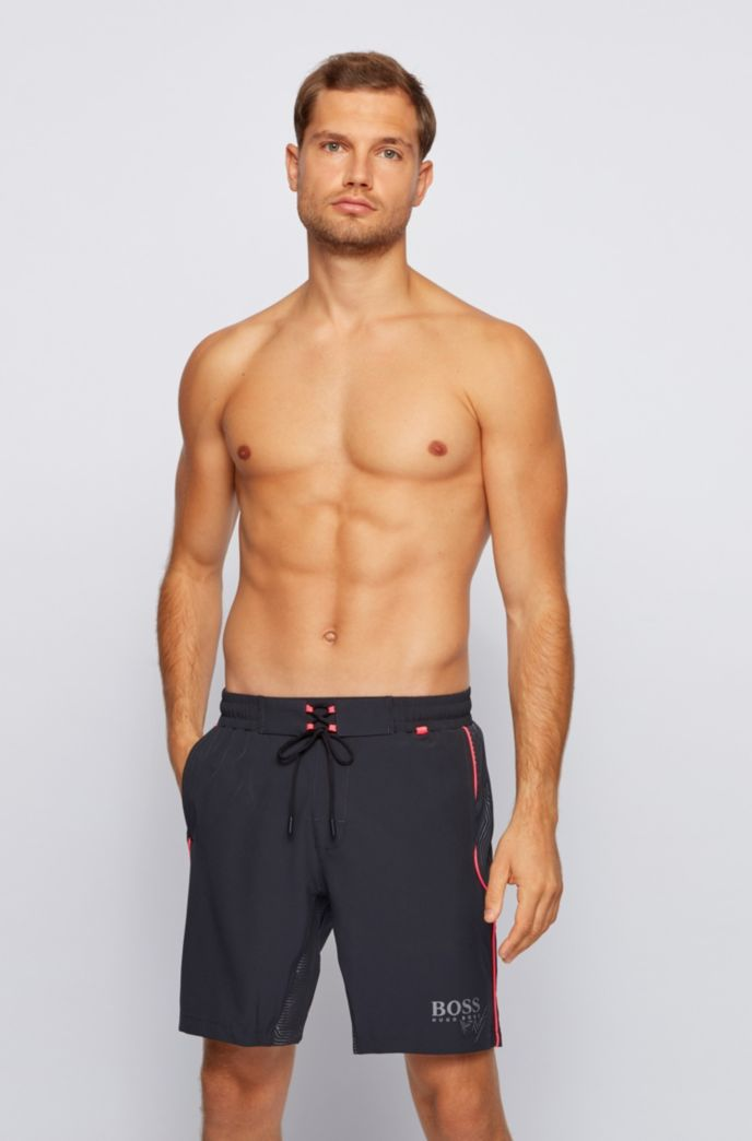 Contrast-piped swim shorts with reflective inserts