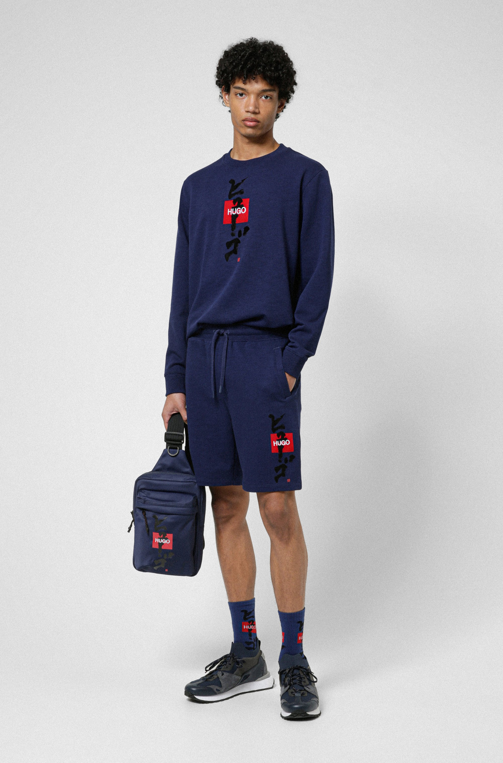 French-terry sweatshirt with logo and calligraphy artwork